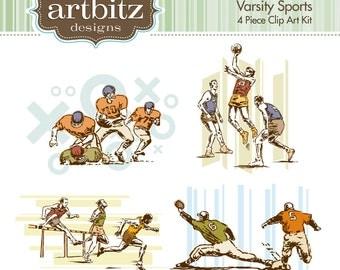 Varsity Sports Vol. 1, No. 11001 4 Piece Clip Art Kit, 300 dpi .jpg and .png