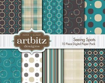 "Seeing Spots 10 Piece Digital Scrapbook Paper Pack, 12""x12"", 300 dpi .jpg"