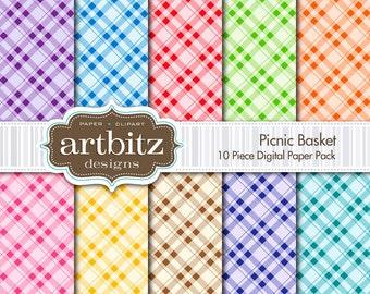 "Picnic Basket 10 Piece Digital Scrapbook Paper Pack, 12""x12"", 300 dpi .jpg, Instant Download!"