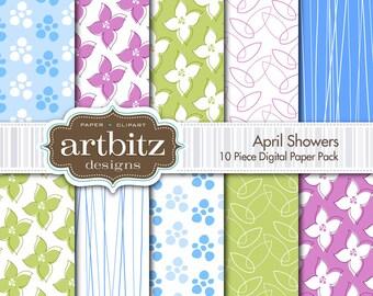 "April Showers 10 Piece Digital Scrapbooking Paper Pack, 12""x12"", 300 dpi .jpg, Instand Download!"