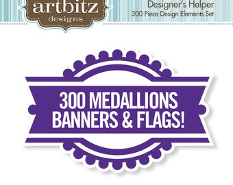 Designer's Helper 300 Piece Medallion, Banner & Flag Kit, Commercial License, No. 17005, .eps, 300 dpi .jpg