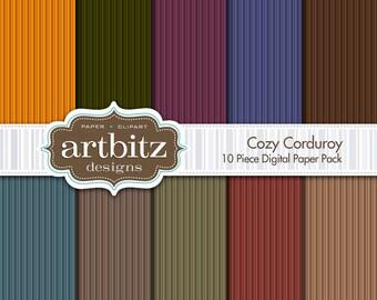 """Cozy Corduroy 10 Piece Digital Scrapbook Paper Pack, 12""""x12"""", 300 dpi .jpg, Instant Download!"""