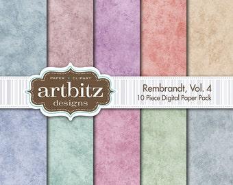 "Rembrandt, Vol. 4, 10 Piece Digital Scrapbook Paper Pack, 12""x12"", 300 dpi .jpg, Instant Download!"