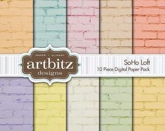 "SoHo Loft, 10 Piece Brick Texture Digital Scrapbook Paper Pack, 12""x12"", 300 dpi .jpg, Instant Download!"