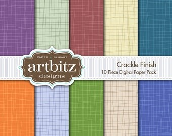 "Crackle Finish 10 Piece Digital Scrapbook Paper Pack, 12""x12"", 300 dpi .jpg, Instant Download!"