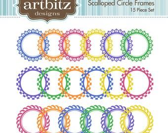 Scalloped Circle Digital Frames, Set of 15, No. 20002 Clip Art Kit, 300 dpi .jpg and .png, Instant Download!