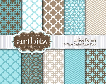 "Lattice Panels 10 Piece Digital Scrapbooking Paper Pack, 12""x12"", 300 dpi .jpg, Instant Download!"