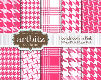"Houndstooth in Pink 10 Piece Digital Scrapbooking Paper Pack, 12""x12"", 300 dpi .jpg, Instant Download!"