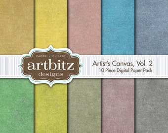 "Artist's Canvas Vol. 2 10 Piece Digital Scrapbook Paper Pack, 12""x12"", 300 dpi .jpg, Instant Download"