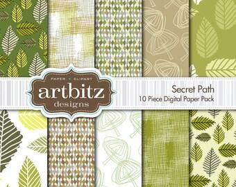 "Secret Path 10 Piece Digital Scrapbooking Paper Pack, 12""x12"", 300 dpi .jpg, Instant Download!"