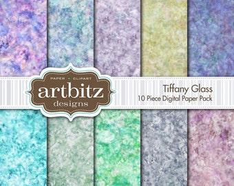 "Tiffany Glass 10 Piece Marbled Texture Digital Scrapbooking Paper Pack, 12""x12"", 300 dpi .jpg, Instant Download!"