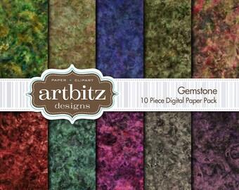 "Gemstone 10 Piece Marbled Texture Digital Scrapbooking Paper Pack, 12""x12"", 300 dpi .jpg, Instant Download!"