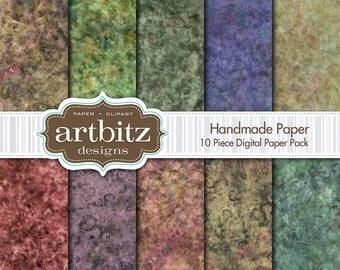 "Handmade Paper 10 Piece Marbled Texture Digital Scrapbooking Paper Pack, 12""x12"", 300 dpi .jpg, Instant Download"