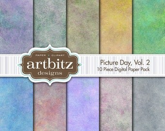 """Picture Day, Vol. 2, 10 Piece Photo Background Digital Scrapbooking Paper Pack, 12""""x12"""", 300 dpi .jpg, Instant Download!"""