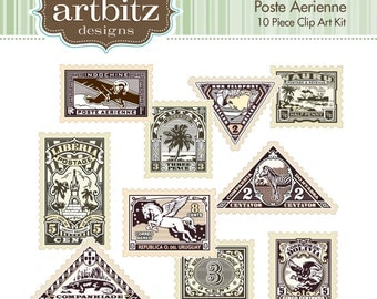 Poste Aerienne No. 20006 10 Piece Postage Stamp Clip Art Kit, 300 dpi .jpg and .png