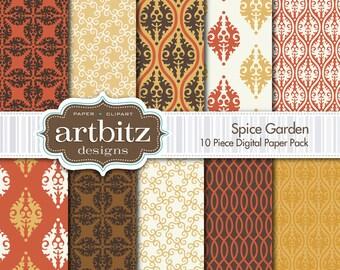 "Spice Garden Damask 10 Piece Digital Scrapbooking Paper Pack, 12""x12"", 300 dpi .jpg, Instant Download!"