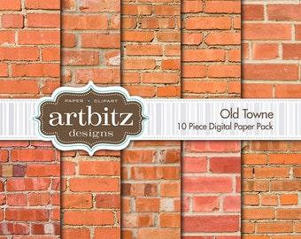 "Old Towne, 10 Piece Brick Texture Digital Scrapbook Paper Pack, 12""x12"", 300 dpi .jpg, Instant Download!"