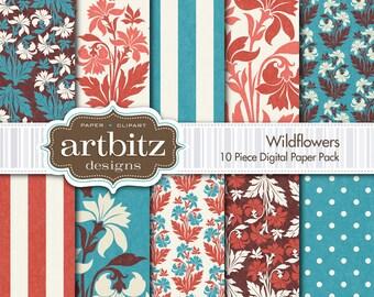 "Wildflowers 10 Piece Textured Digital Scrapbooking Paper Pack, 12""x12"", 300 dpi .jpg, Instant Download!"