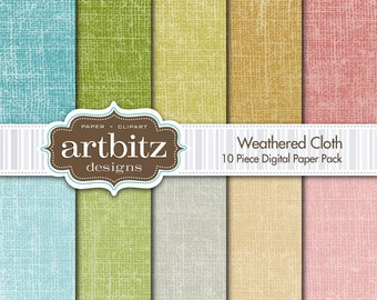 "Weathered Cloth 10 Piece Digital Scrapbook Paper Pack, 12""x12"", 300 dpi .jpg, Instant Download!"