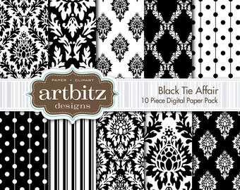 "Black Tie Affair Damask 10 Piece Digital Scrapbooking Paper Pack, 12""x12"", 300 dpi .jpg, Instant Download!"