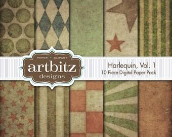 "Harlequin Vol. 1, 10 Piece Distressed Digital Scrapbooking Paper Pack, 12""x12"", 300 dpi .jpg, Instant Download!"