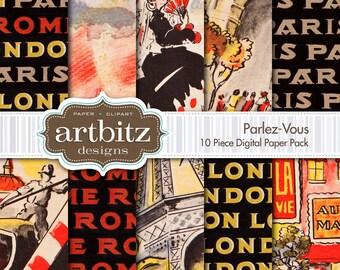 "Parlez-Vous, 10 Piece Digital Scrapbooking Paper Pack, 12""x12"", 300 dpi .jpg, Instant Download!"