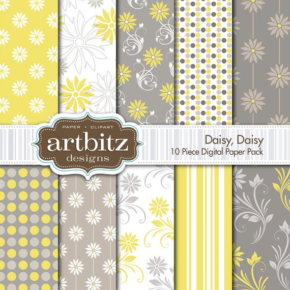 "Daisy, Daisy 10 Piece Digital Scrapbook Paper Pack, 12""x12"", 300 dpi .jpg, Instant Download!"