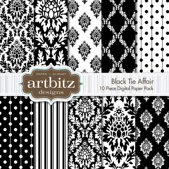 "Black Tie Affair Damask 10 Piece Digital Scrapbooking Paper Pack, 12""x12"", 300 dpi .jpg, Instant Download!"