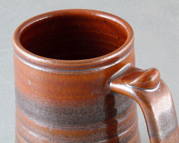 Stoneware TANKARD with Iron RED & Black Tenmoku Glaze