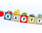 Sesame Street Banner - Elmo Cookie Monster Big Bird Oscar Grover Bert Ernie Abby Cadabby Zoe - Birthday Party Printable