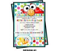 Elmo Invitation - Sesame Street Invitation - Elmo and Dorothy Invitation - Party Printable Invitation - Polka Dot, Goldfish, 2 Designs