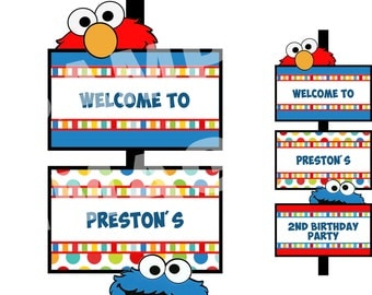 Sesame Street Party Sign - Elmo Party Sign - Sesame Street Welcome Sign - Elmo Welcome Sign - PERSONALIZED Printable Birthday Party Sign