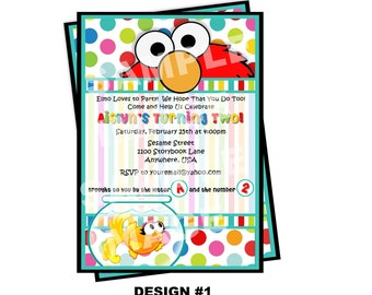 Elmo Invitation - Sesame Street Invitation - Elmo and Dorothy Invitation - Party Printable Invitation - Polka Dot, Goldfish, 2 Designs