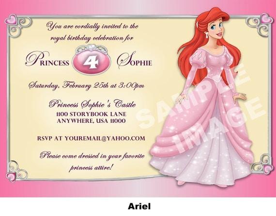 Items similar to Ariel Invitation - Little Mermaid ...
