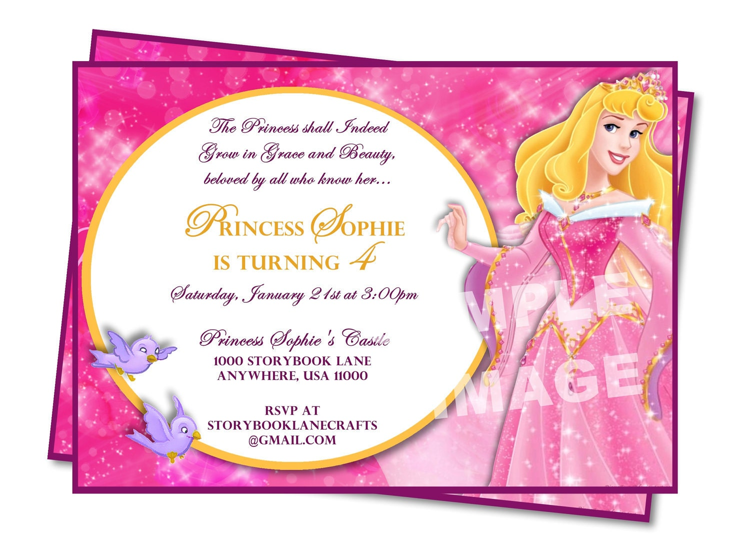 Aurora Invitation Sleeping Beauty Invitation Disney – Sleeping Beauty Party Invitations