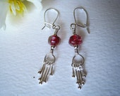 lamp-work glass bead dangle earrings, silver earrings