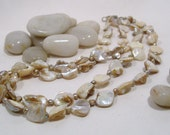 Fashion's Newest Trend, Necklace, Shell Bead, Freshwater Pearls with Sterling Silver Clasp