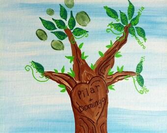 Fingerprint Tree for Wedding/Family Reunion - Custom, Personalized, DIY Hand Painted Art 11x14