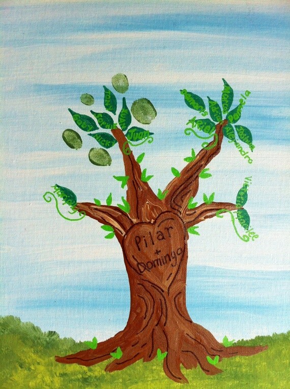 Fingerprint Tree for Wedding/Family Reunion - Custom, Personalized, DIY Hand Painted Art 11x14