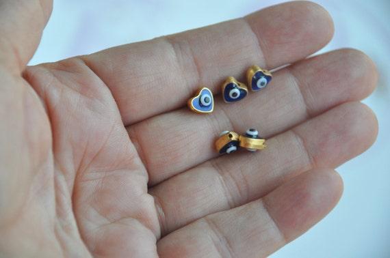 heart handmade glass beads 5 piece jewelery making materials.REF-659