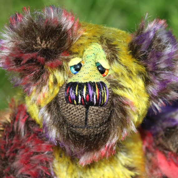 Piccalilli Billie, a chunky, funky little chappie, a one of a kind artist bear, made from double-tipped mohair.