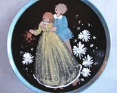 Folksy Romantic Vintage Hand Painted Large Dish, So Sweet.