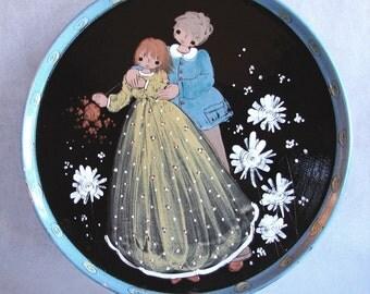 Folksy Romantic Vintage Hand Painted Large Dish, So Sweet.