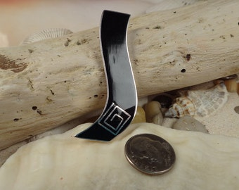 Handmade Black Shell and Sterling Silver  Pendant