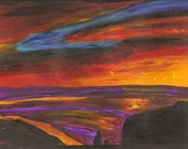 Sunset 9x12 inch original acrylic painting on heavy paper direct from artist unsigned