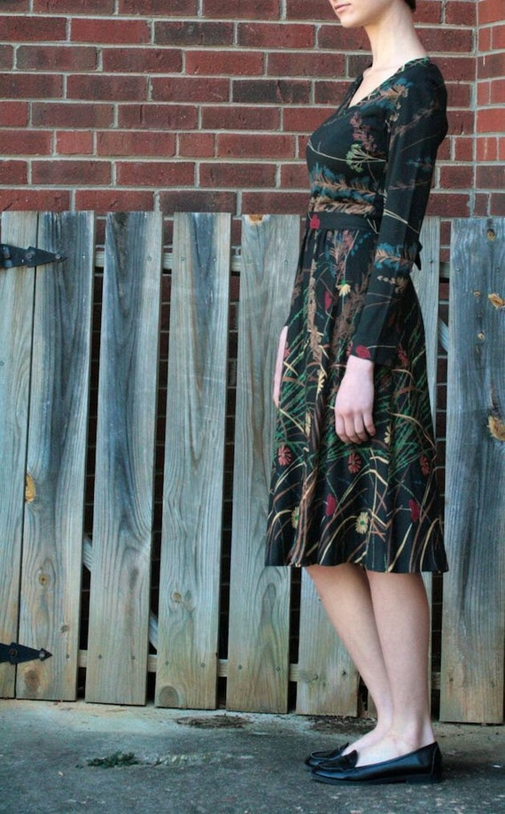 Black Floral Patterned Long Sleeved Vintage 1960s Matti of Lynne Dress
