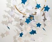 Star mobile indigo and white - home decoration - paper mobile - nursery decor - valentine's day - estrellas