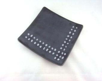 Contemporary Gray Square Glass Plate