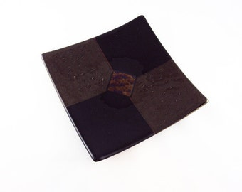 Square Black and Gold Irid Glass Plate