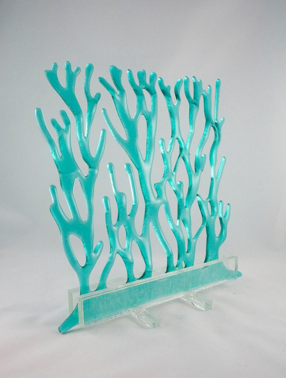 Turquoise glass Sea Grass Sculpture